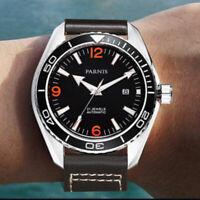 45mm PARNIS Schwarz dial Date Saphirglas Miyota Automatisch movement men's Watch