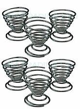 Ensemble de 6 tasses œuf Plaqué Chrome Rack Stand Holder spirale fil