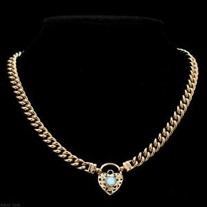 18K Yellow Gold GL Womens Solid Med Euro Curb Necklace with Topaz Filigree Heart