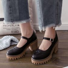 Vintage Women Round Toe Platform Block Mid Heels Ankle Buckle Brogues Shoes Size