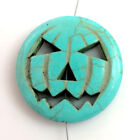 Large Halloween Decor Magnesite Turquoise Howlite Skull Pumpkin Pendant Beads