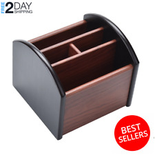 New Revolving Caddy Remote Control Organizer Wooden Storage Holder Box TV Stand.