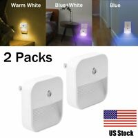 2 Pack Plug in LED Night Light Wall Lamp Dusk to Dawn Sensor 0.4W kids Bedroom