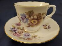 Crown Staffordshire England Fine Bone China Floral  Cup & Saucer Set MINT CNDTN!