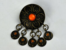 VTG 50's BRASS FLORAL JEWELLERY ORNATE PIN BADGE BROOCH BULGARIAN FOLK COSTUME