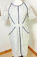 Whistles Size 12 Grey & White Lace Pencil Dress Fitted Zip Back Detail Pockets