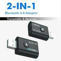 1X 2 in 1 USB Bluetooth 5.0 Audio Transmitter/Receiver Adapter For TV/PC/Car AUX