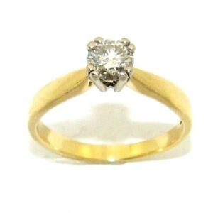 Ladies/womens 18ct gold engagement ring set with a solitaire diamond, UK size J