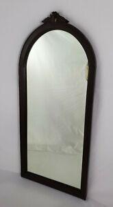 "Antique Wall Mirror Carved Walnut Frame Art Nouveau Victorian 30 5/8"" x 13 3/4"""