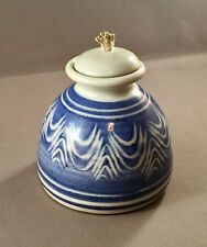 Handcrafted Pottery Oil Lamp, Blue/White Design, Rarely Used Condition, 1990's