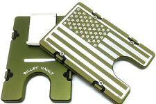 Large American Flag, Billet Vault Aluminum Wallet, RFID protection, Green,
