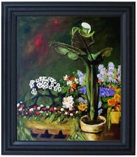 Framed, Renoir Arum and Conservatory Repro, Hand Painted Oil Painting 20x24in