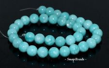 10MM DOMINICAN BLUE JADE GEMSTONE BLUE ROUND 10MM LOOSE BEADS 14.5""