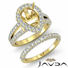 Diamond Vintage Engagement Ring Pear Bridal Set 18k Gold Yellow SemiMount 2.72Ct