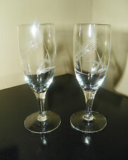 "Pair~Vintage Etched ""Cut Wheat Pattern"" Crystal Wine Goblets/Stems"