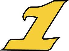 """x1 4"""" Race Number vinyl stickers (MORE in EBAY SHOP) Style 2 Number 1 Black/yell"""