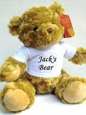 Personalised Teddy Bear Birthday, New Baby Embroidered With Name and Word Bear