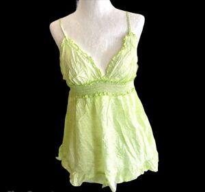 Victoria's Secret eyelet Sexy babydoll sleep tank & shorts set Lime Green Large