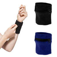 2Pcs Wrist Sweatband Athletic Travel Sports Wristband Wallet Zipper Pocket