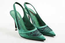 Louis Vuitton Green Black Lace & Satin Pointed Toe Slingback Pumps SZ 38