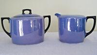 Porzellanfabrik Adolf Laufer Bohemian Porcelain Creamer & Sugar Bowl Blue Luster