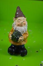 "New listing 5"" Gnome w/ Lettuce Cabbage Garden Flower Pot Stake Sitter Statue Sprites #4"