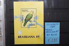 """FRANCOBOLLI STAMPS NICARAGUA 1989 """"BIRDS - BRASILIANA 89"""" MNH** BLOCK (CAT.A)"""