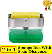 2in1 Soap Pump Dispenser & Sponge Holder Dish Soap Storage Dispensers Kitchen