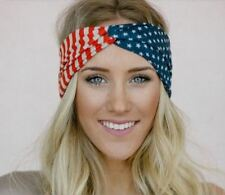 Vintage American Flag Headband USA Hair Band Red White Blue Fashion Accessory