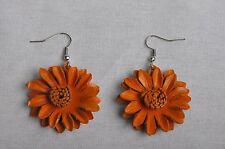 Boucles d'oreille Fleur Marguerite orange