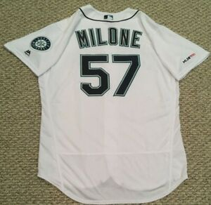 MILONE size 48 #57 2019 Seattle Mariners GAME USED jersey home white MLB HOLO
