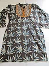 MADE IN INDIA CHARCOAL & BLUE BIG LEAF PRINT LONG COTTON TUNIC SHORT DRESS UK 10