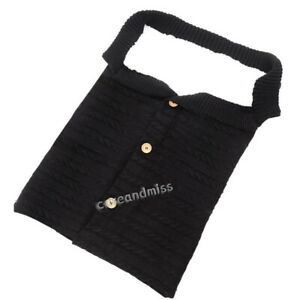 Newborn Baby Stroller Available Portable Knitted Button Thick Plush Sleeping Bag