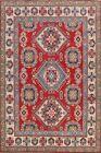 Vegetable Dye Geometric Super Kazak Oriental Area Rug Hand-Knotted Wool 8x10 ft