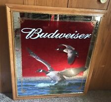 "Budweiser Beer Geese Wildlife Mirror Large Bud 33"" X 28"" Goose light Rare"