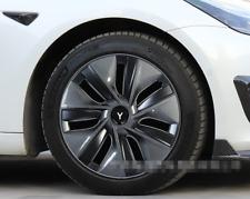 """Fit For Tesla Model Y 19"""" Carbon fiber pattern Hubcaps Caps Rim Wheel Cover 4PC"""