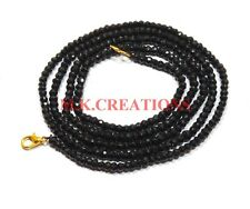 3-4MM Natural Black spinel Faceted Beads Beaded Necklace Strand Rich Jewelry
