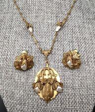 Antique 12KT Gold Filled Necklace Pendant & Earrings Pearl Set Art Nouveau