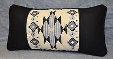 Southwest Embroidered Pillow made w Ralph Lauren Black Logo & Cream Fabric /cord
