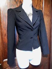 CROPPED BLACK BLAZER CORSET lace up back jacket gothic office top 90s S 1A