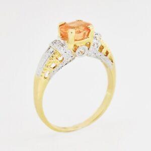 14k Yellow Gold Estate Citrine & Diamond Ring Size 7.25
