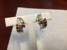 14k yellow gold earring with emerald,ruby,sapphire,diamond