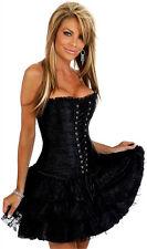 Gothic Burlesque Basque Corset Tutu Skirt Outfit Halloween Hen Party Fancy Dress