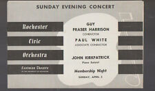 Rochester Civic Orchestra Program April 2 1950 John Kirkpatrick