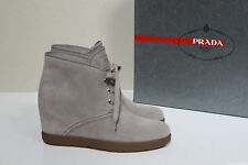 New sz 5 / 35 PRADA BEIGE Suede Lace Up Ankle Wedge Bootie Heel Womens Shoes