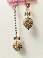 NWT Betsey Johnson Mismatch Blue Pink Heart Bow Dangle Crystal Gold Earrings