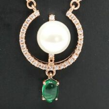 10mm AAA White Akoya Pearl Green Emerald Diamond Pendant Necklace Women Jewelry