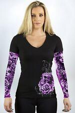 Lethal Angel My Nightmare Tattoo Sleeve Skull Adult Womens V Neck Shirt LT20428
