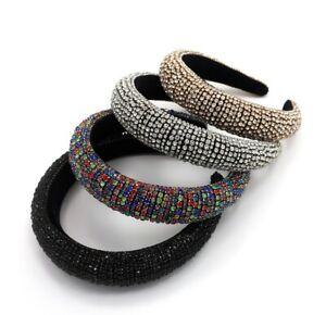 Luxury Rhinestone Headband Bling Padded Baroque Crystal Fashion Hair Band Piece