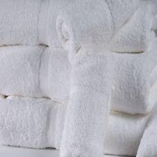 6 NEW 16X27 TOWELS PREMIUM DOBBY BORDER HAND BRIGHT WHITE HOTEL ST MORITZ BRAND